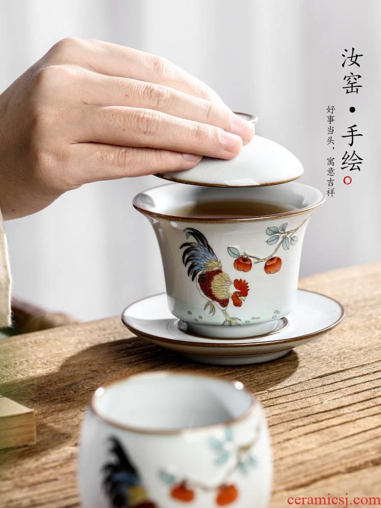 Jingdezhen hand - made big chicken only three tureen tea cups tea bowl of hot large pure manual kung fu tea set