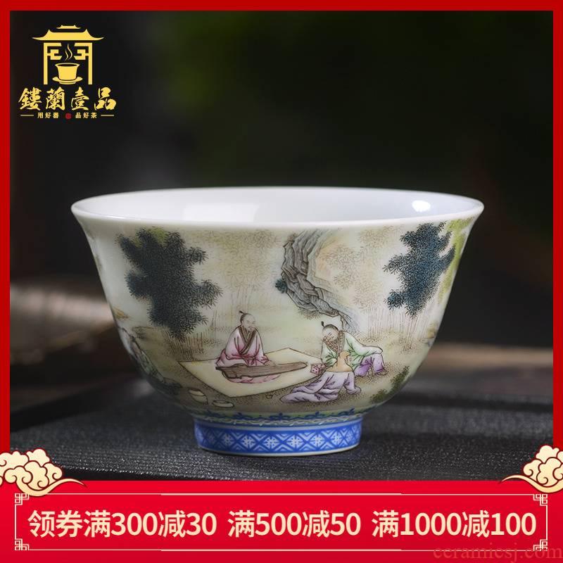 Jingdezhen ceramic hand - made pastel bamboo seven sages master cup manual kung fu tea set sample tea cup single cup tea cup