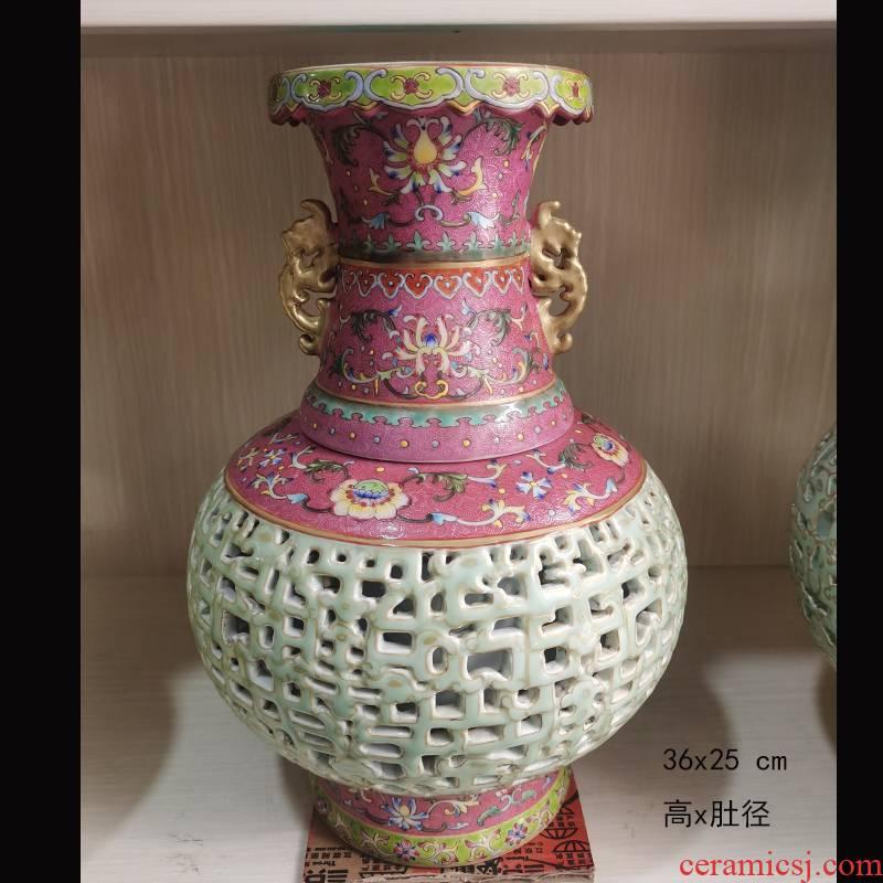 Jingdezhen ears hollow - out decorative vase mesa 30 cm high ears blue and white porcelain vase