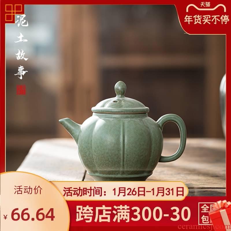 Jingdezhen green glaze up teapot single pot of Japanese kung fu tea set manually restoring ancient ways of household ceramics xi shi pot