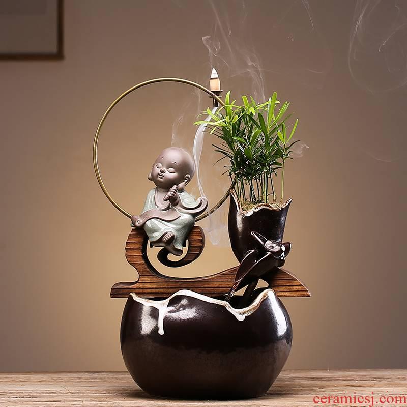 Creative ceramic Chinese zen sitting room desktop automatic flow humidifying furnishing articles store opening housewarming gift