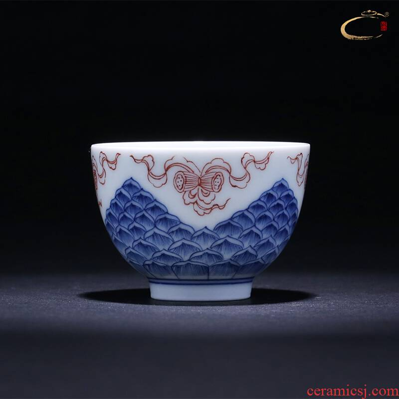 Jingdezhen blue and white youligong and auspicious good or a cup of pure manual master cup one hundred single CPU hand - made sample tea cup