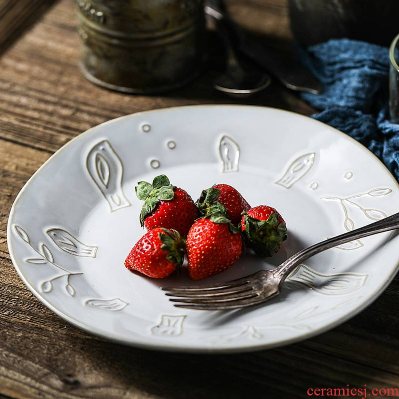 Web celebrity ins dish dish dish tondo ceramic household deep dish soup plate character breakfast salad plates