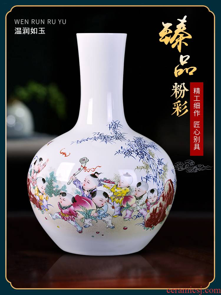 Jingdezhen ceramics vase archaize pastel flat peach life of porcelain Chinese sitting room decorate study furnishing articles