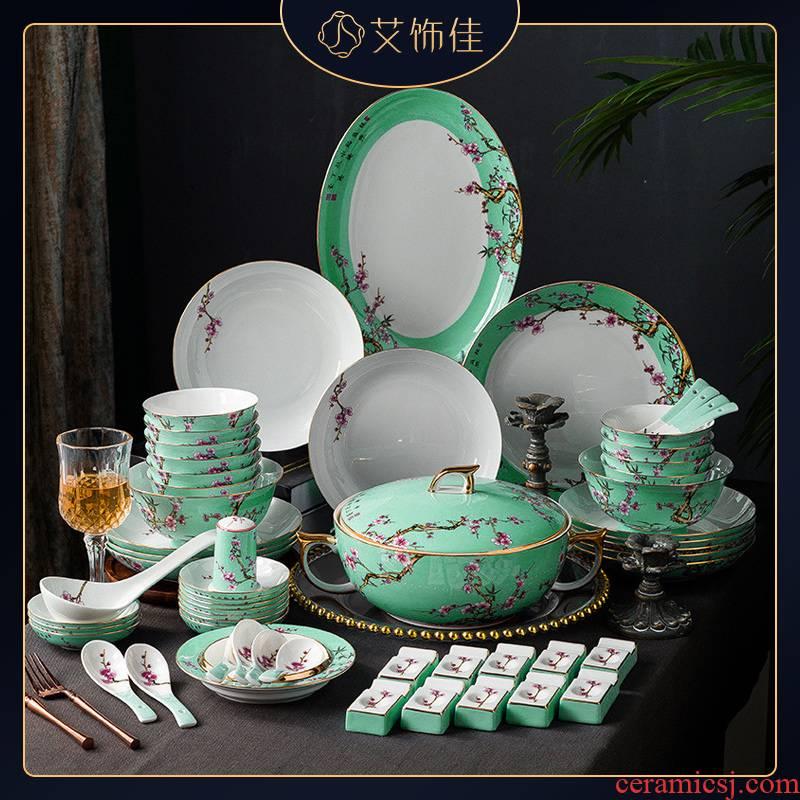 Jingdezhen high - grade ipads porcelain enamel tableware suit household Nordic light key-2 luxury up phnom penh dish version into a gift