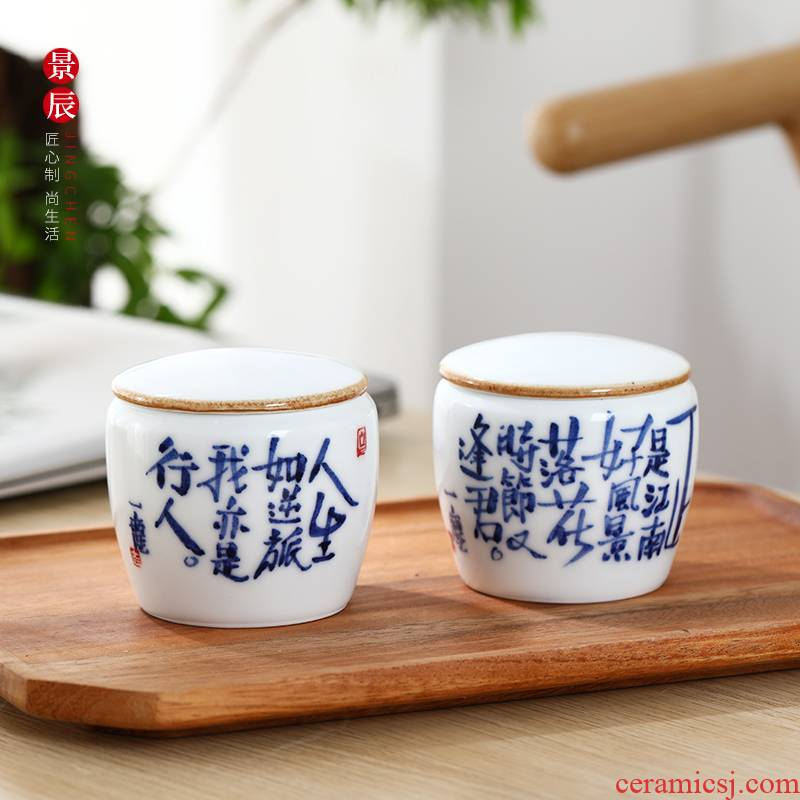 Jingdezhen ceramic porcelain retro creative kung fu pu 'er tea pot seal guanyin tea cake tea urn storage size
