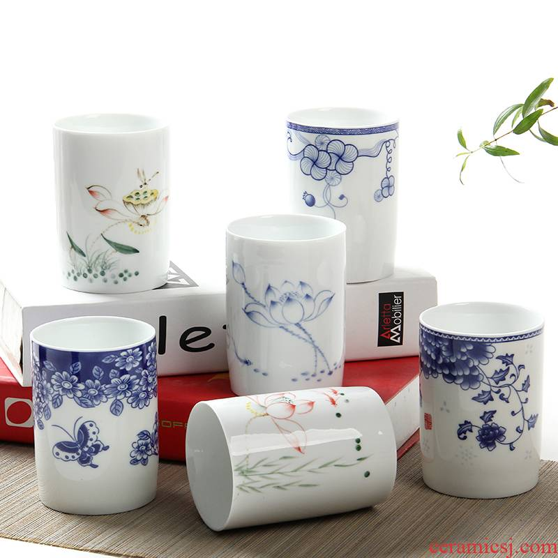 Ceramic cups of jingdezhen blue and white porcelain cup large glass hand - made personal cup large capacity 310 ml cup