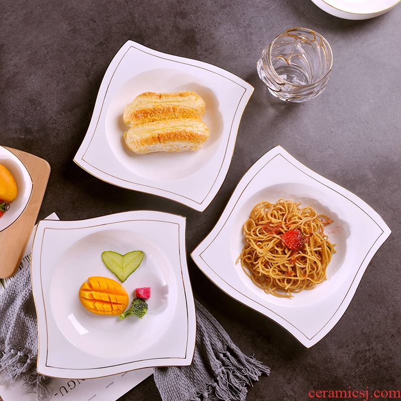 European creative manual gold 】 【 ipads porcelain household western big flat plate ceramic dishes soup plate hotel