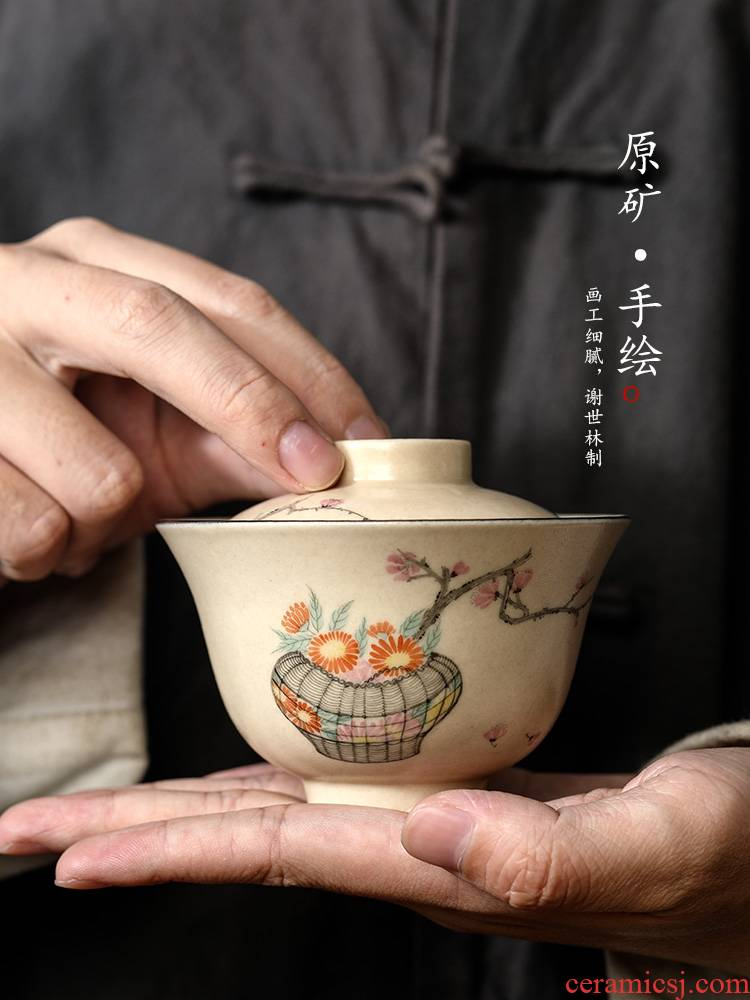 Pure manual tureen tea cups jingdezhen single hot Pure manual kunfu tea bowl hand - made by tea