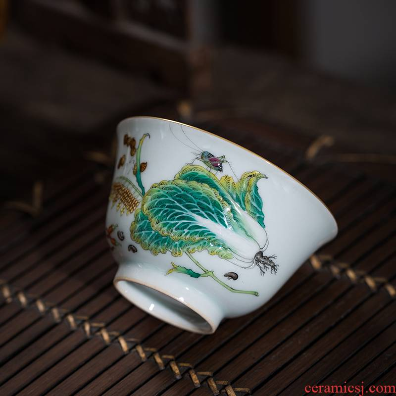 The Owl up jingdezhen tea by hand sample tea cup hand - made ceramic cups kungfu best wealth cup thin foetus enamel cup