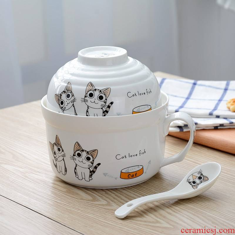 Students noodles in soup bowl with cover with ceramic sealed the trumpet cartoon to microwave spoon bean cup noodles lunch box.
