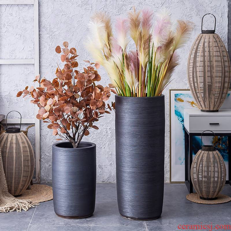 Nordic INS wind black ceramic web celebrity ground indoor green plant large vases, I and contracted sitting room balcony flowerpot