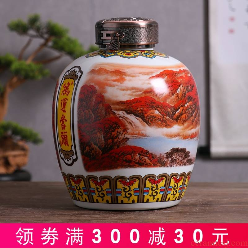 Jingdezhen domestic jar jar of ceramic terms it sealed with leading wine bottle 10 jins 20 jins