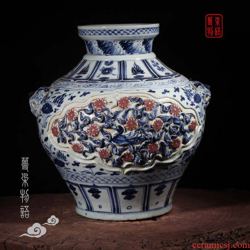 Jingdezhen heap carved porcelain mei mei imitation of yuan blue and white youligong porcelain bottle lid bottle head tiger caboodle spends big pot