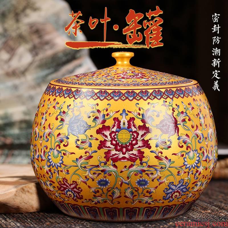 Restoring ancient ways around branch lotus pu - erh tea cake tea pot seal tank put the seventh, peulthai the tea POTS of large tea urn archaize porcelain jar