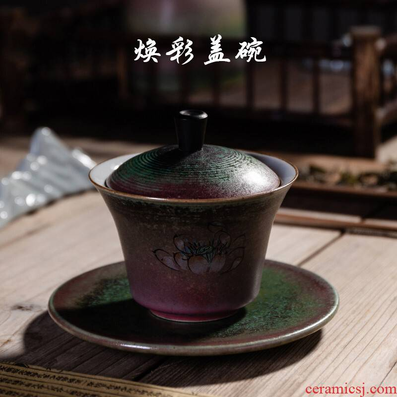 Poly real (coarse pottery tureen scene gold metal glaze tureen kung fu tea set item make tea, tea bowl only three tureen