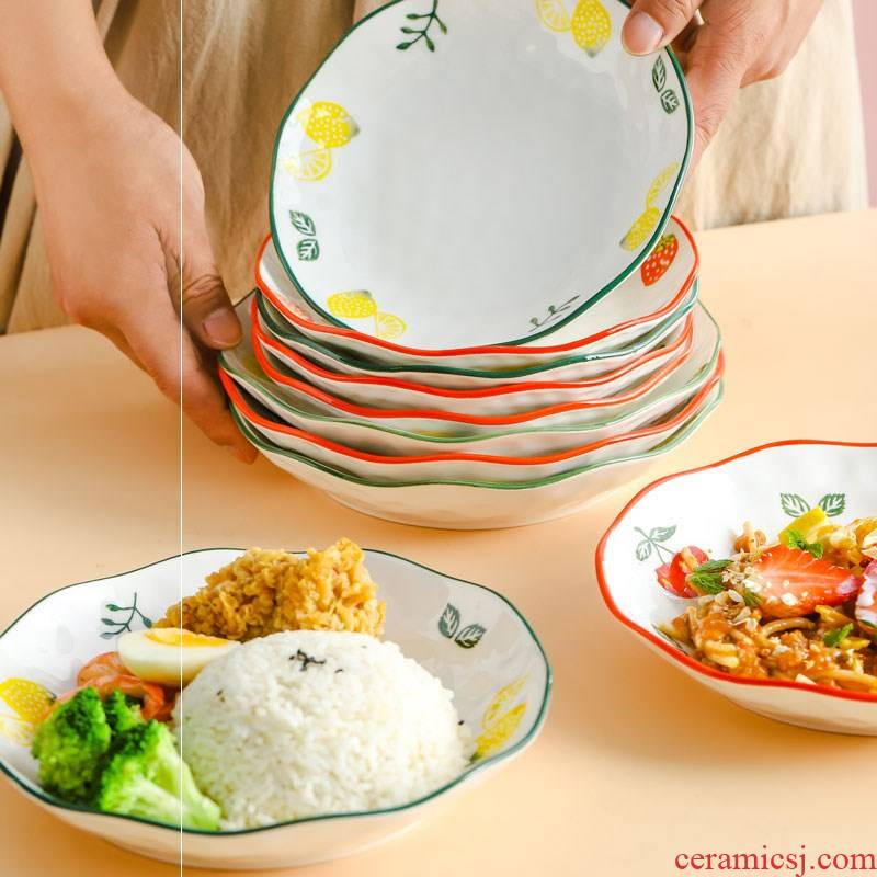 The Nordic dish dish dish household creative web celebrity ins wind ceramic tableware of western food steak plate of fruit breakfast dishes