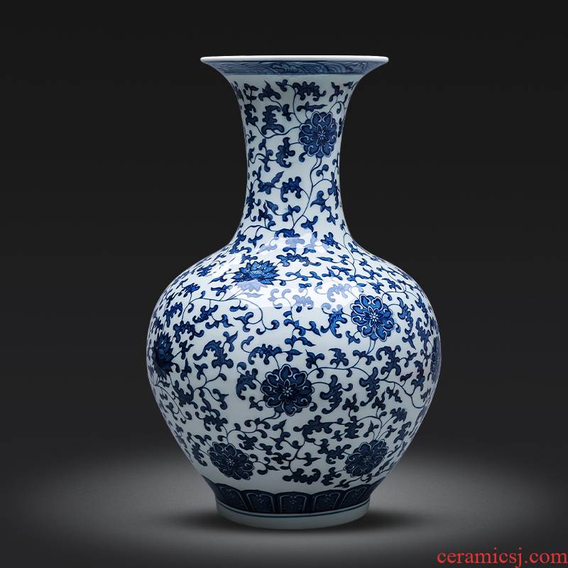 Jingdezhen porcelain ceramics of large blue and white porcelain vase large furnishing articles of Chinese style restoring ancient ways home sitting room adornment