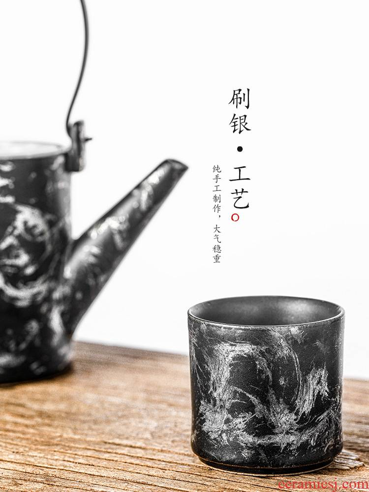 Pure manual master cup cup of jingdezhen ceramic sample tea cup single CPU glaze color is a single brush silver tea set