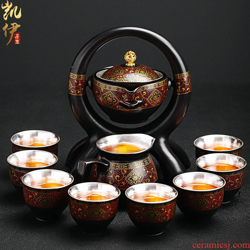 New coppering. As silver colored enamel lazy tea set household jingdezhen ceramic kung fu tea tea tureen the teapot