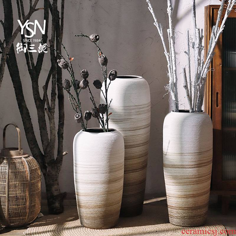Royal clay ceramic vases, I and contracted landing three northern wind does coarse dry flower is placed some ceramic pot sitting room adornment