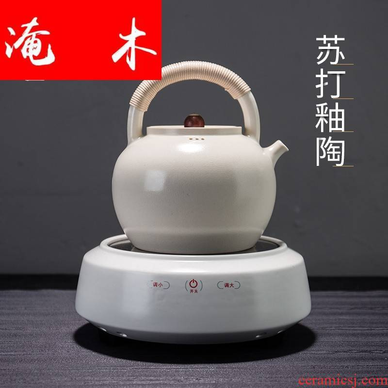 Soda is Flooded wooden vehicle glaze white clay teapot ceramic pot of pu - erh tea boiled tea kettle, electric TaoLu tea stove household