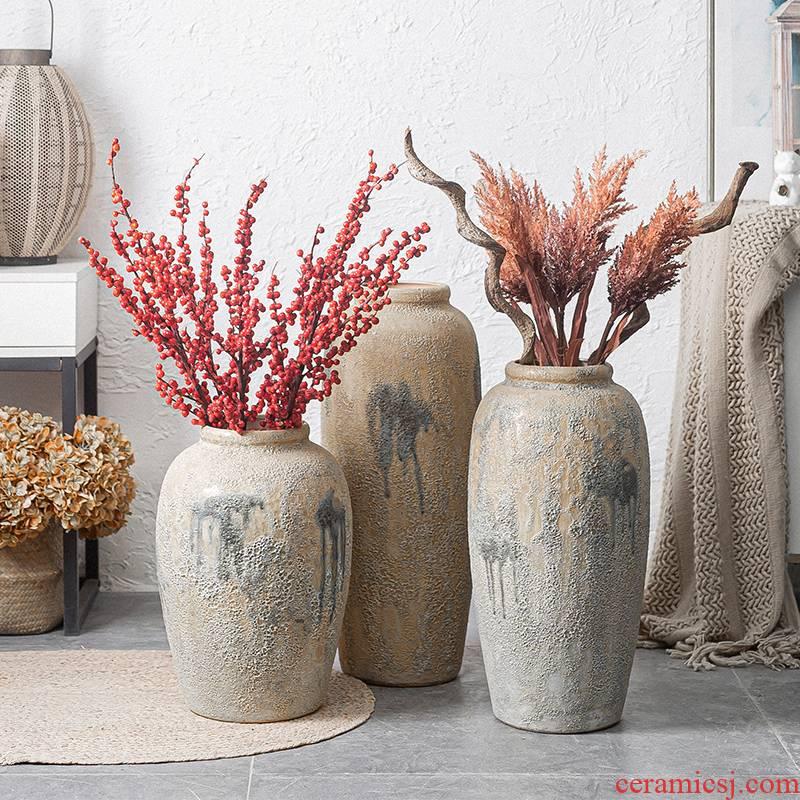 Jingdezhen ceramic vase household living room TV cabinet flower arrangement to restore ancient ways do old large ground decorative dried flowers furnishing articles