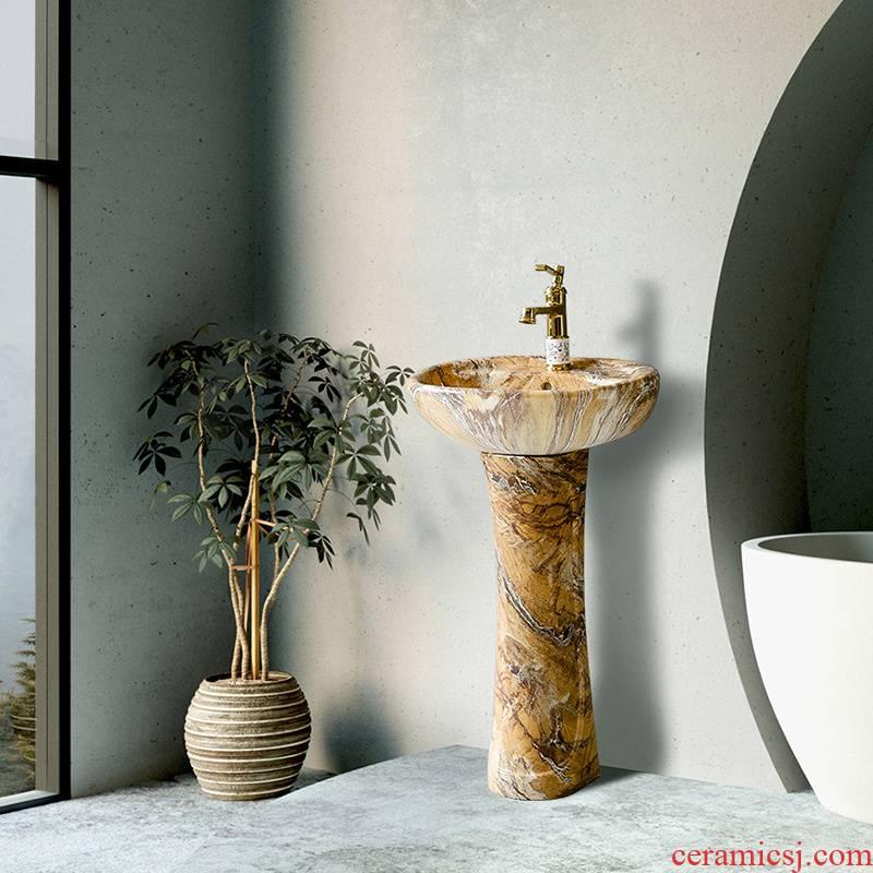 Ceramic washbasin xian modern creative pillar lavabo Nordic toilet household contracted landing small balcony