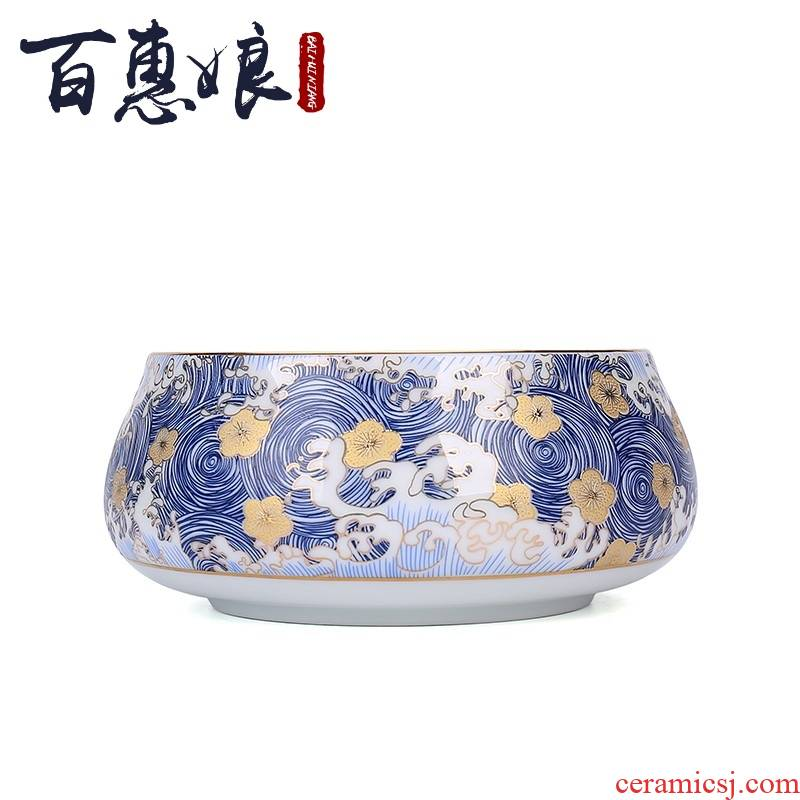 (niang ceramic tea wash to wash to colored enamel writing brush washer water jar to build water slag bucket to pick flowers kung fu tea tea accessories