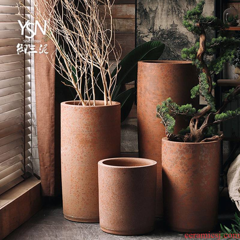 Royal three coarse pottery mud zen ceramic flowerpot vase flower bed sitting room green plant to heavy plant furnishing articles modern decoration