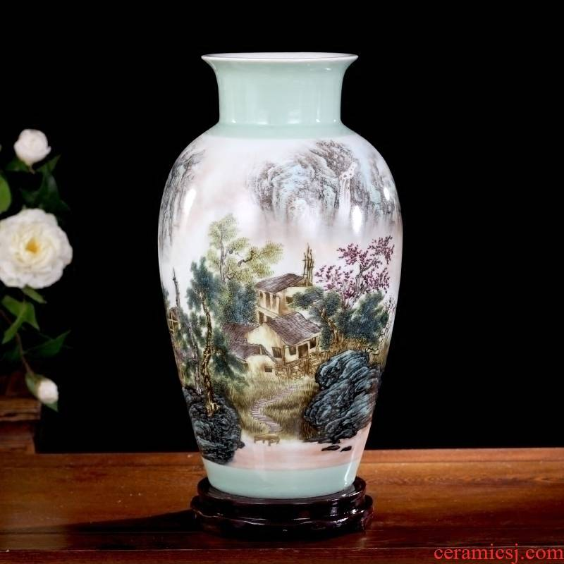Jingdezhen ceramics khe sanh vase household living room office study Chinese fishing figure mesa place adorn article