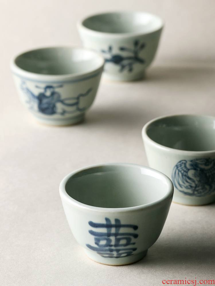 About Nine soil Japanese manual hand - made happy character antique blue and white porcelain tea set iron rust stain sample tea cup cup kung fu little fullness