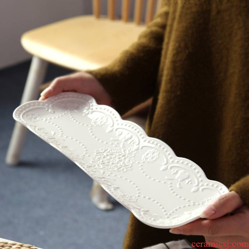 Creative Japanese relief rectangle plate embossed ceramic white butterfly sushi plate tray bread dessert plates
