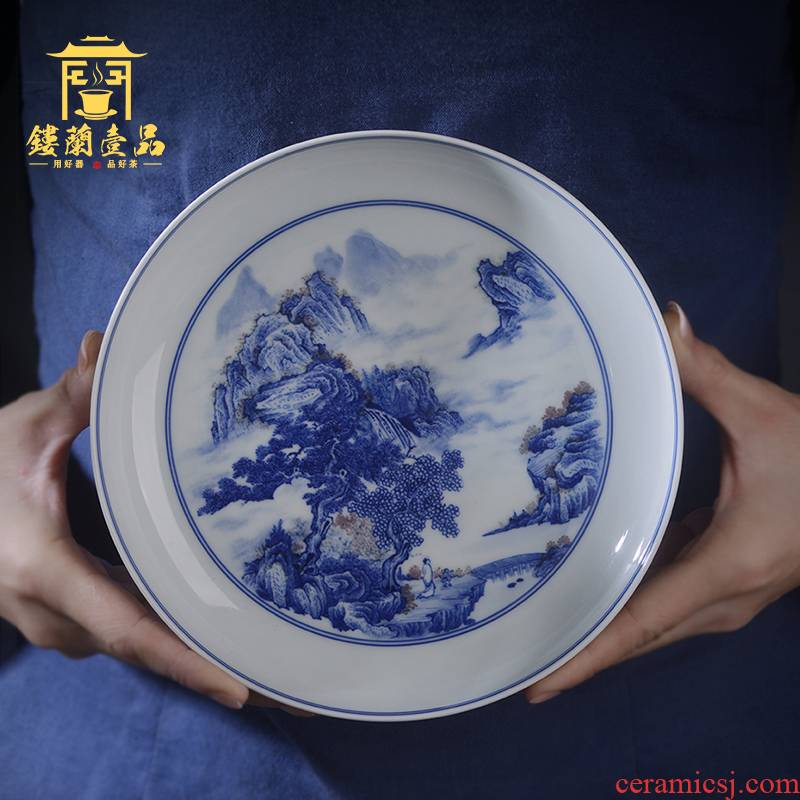 Jingdezhen ceramic blue and white youligong landscape tea tray was all hand - made decorative porcelain furnishing articles cup pad cups tea tray