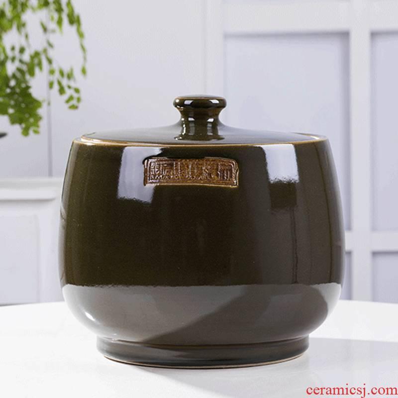 20 jins loading ceramic barrel with cover moistureproof insect - resistant rice jar of oil tank snacks dry tea cake receive tank barrels of VAT
