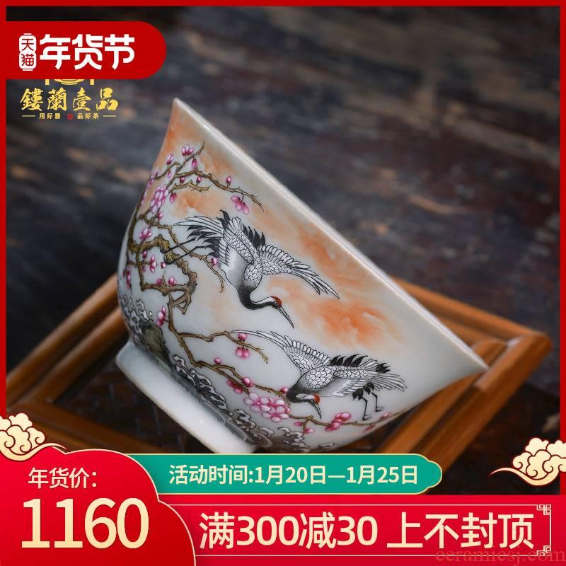 All hand - made pastel mei wife son crane master cup of jingdezhen ceramics kung fu tea tea cup large single CPU