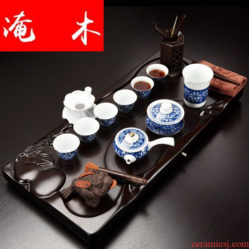 Flooded home ebony wood tea tray was solid wood tea table of a complete set of contracted kung fu tea kettle ceramic tea set