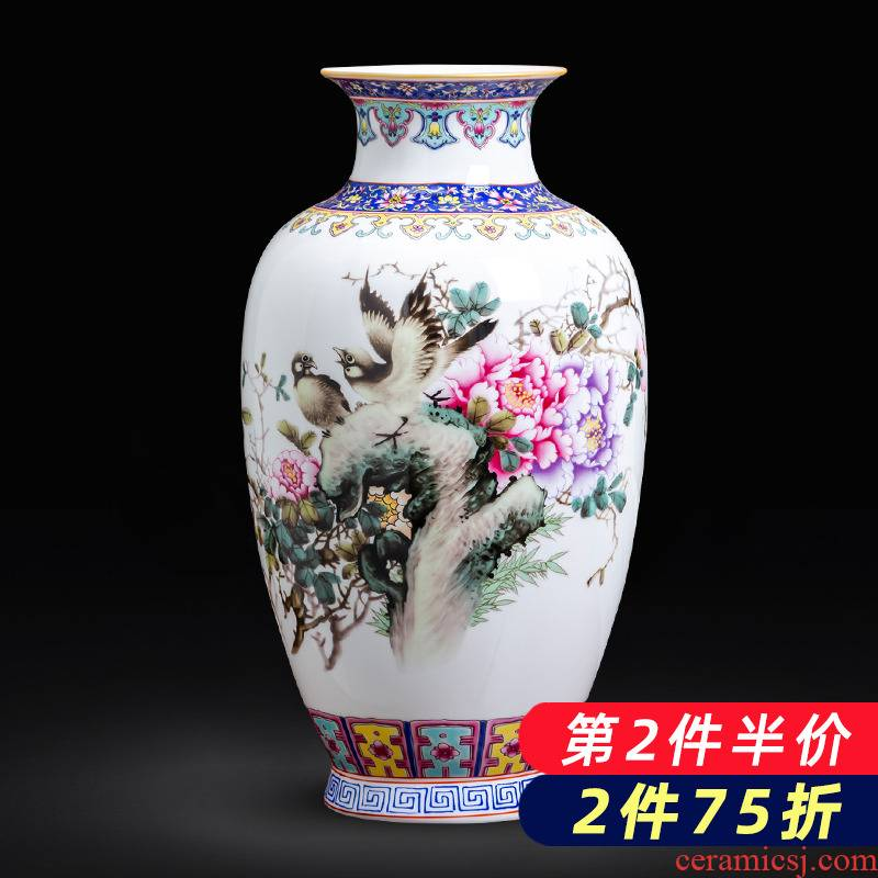 Jingdezhen ceramics new Chinese landscape painting enamel vase flower arranging place to live in the living room TV cabinet decoration