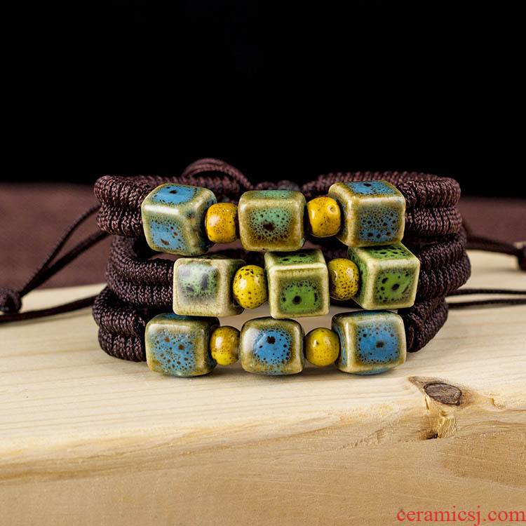 Wholesale of jingdezhen ceramic glaze color bracelet JXB013 hand knitting is green