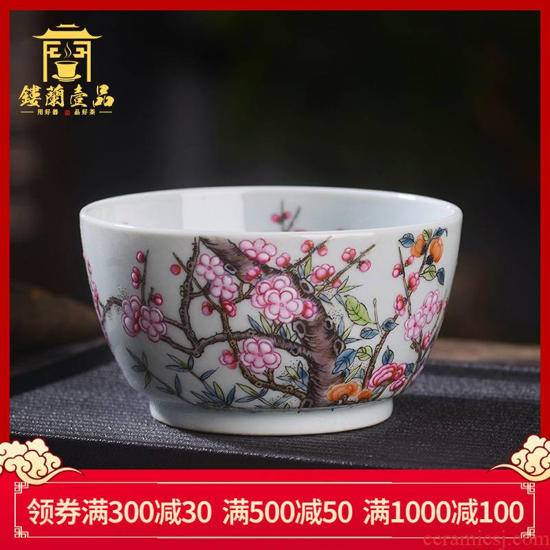 Jingdezhen ceramic all hand - made pastel MeiKaiWuFu masters cup from the single large individual cup cup