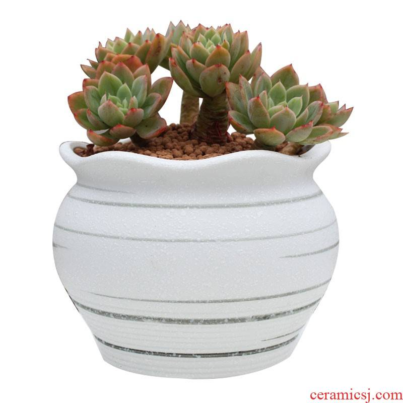 New snow glaze fleshy flowerpot coarse pottery basin hand - made old running the breathable contracted creative ceramic platter spread basin