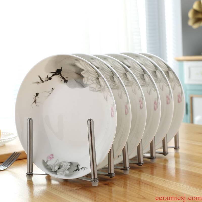 Jingdezhen porcelain ipads six pack round FanPan ceramic plate plate plate dish dish household food dish
