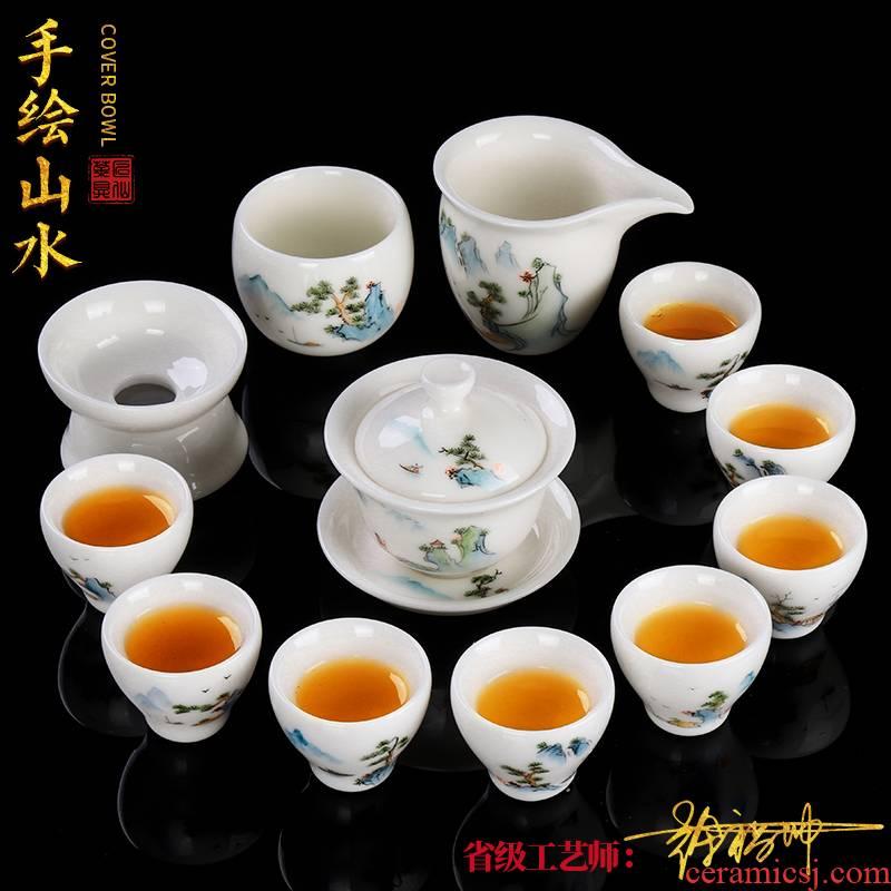 The Master artisan fairy Xu Fukun dehua hand - made white porcelain tea set contracted household high - grade kung fu tea set gift set