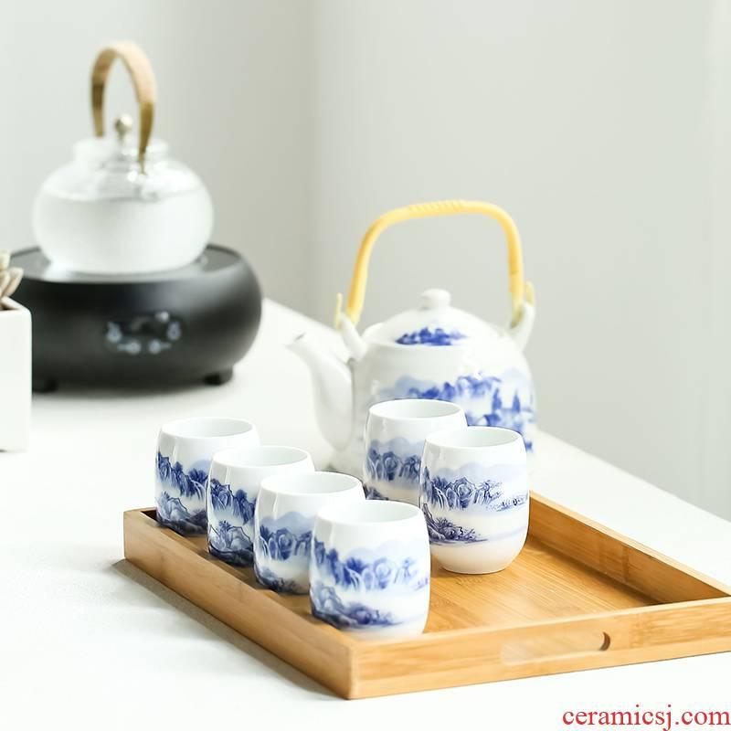 Jingdezhen blue and white porcelain Japanese girder kettle pot of tea set high temperature resistant, high - capacity mountain restaurant home the teapot