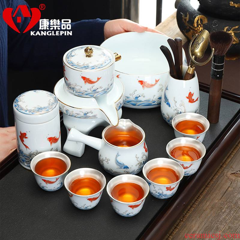 Recreation is tasted silver tea set household year after year have fish porcelain stone mill automatic tea cups lazy people make tea set