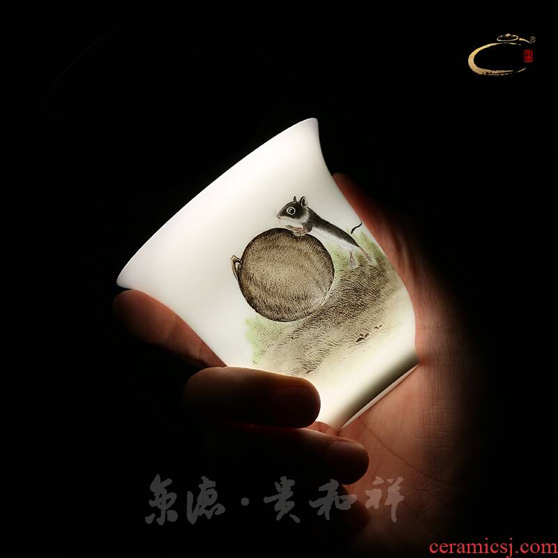Jingdezhen and auspicious hand - made kung fu tea powder enamel animal cup ceramic masters cup a cup of pure checking mugs