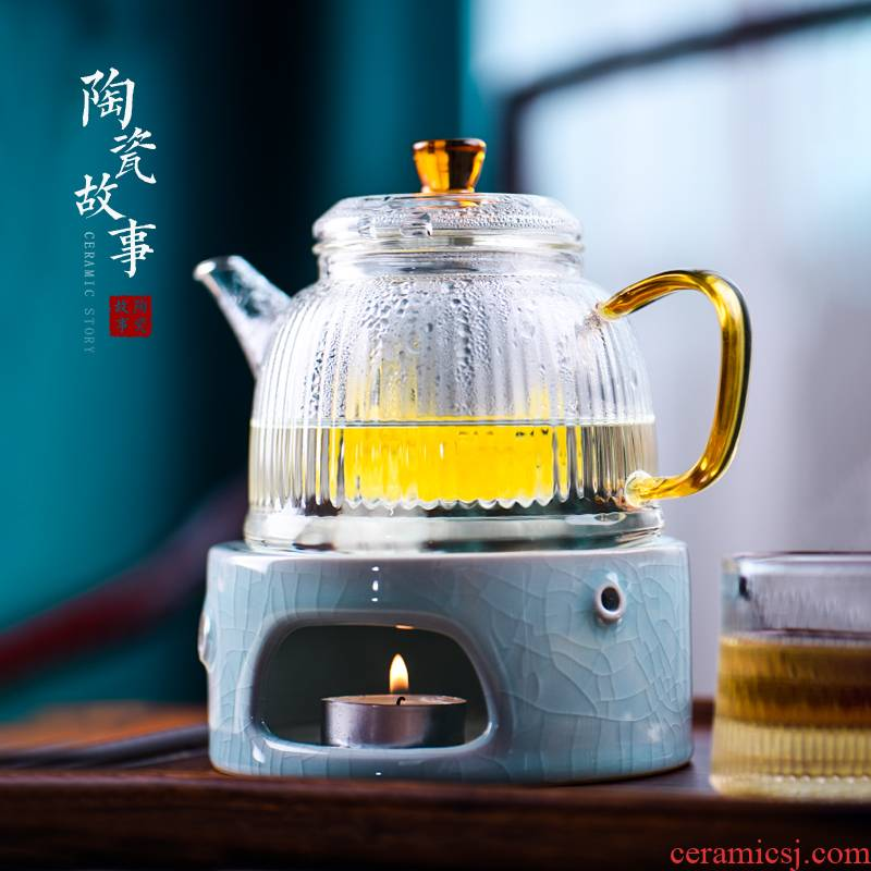Based story Japanese warm tea exchanger with the ceramics heating insulation base flower tea sets accessories thermostatic treasure the teapot
