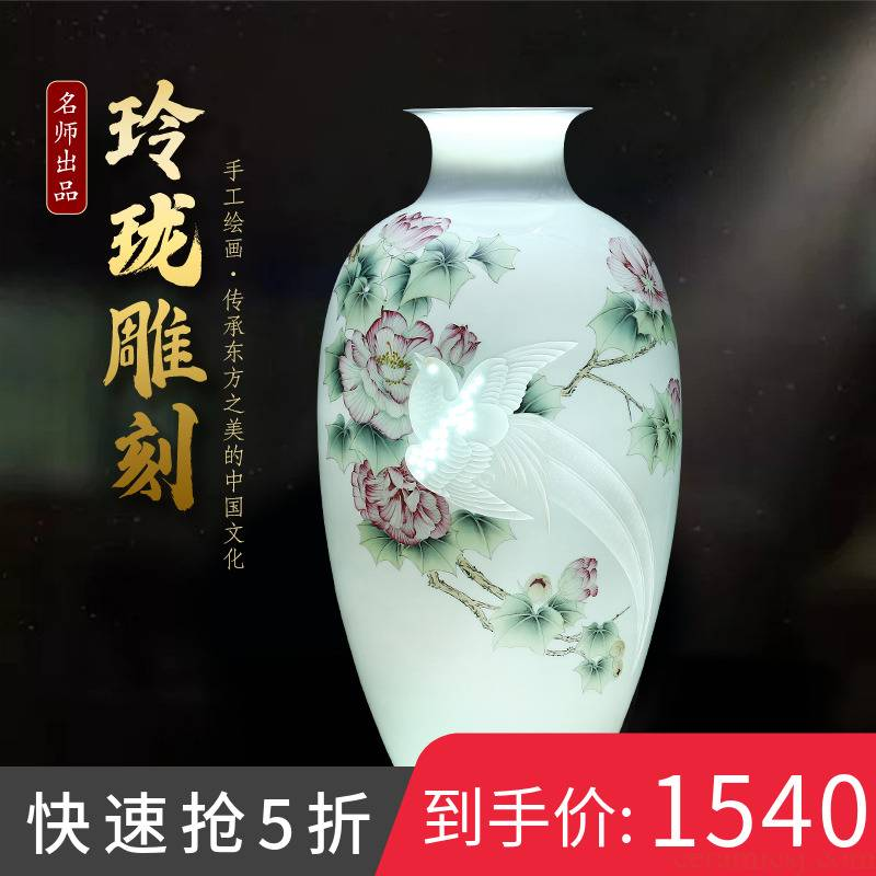 Hand carved splendor in jingdezhen ceramics vase rich ancient frame light key-2 luxury furnishing articles of new Chinese style household decoration