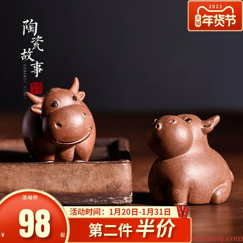 Familiar place fine ceramic story tea to keep the zen tea bullish sentiment, lovely purple sand tea pet cattle