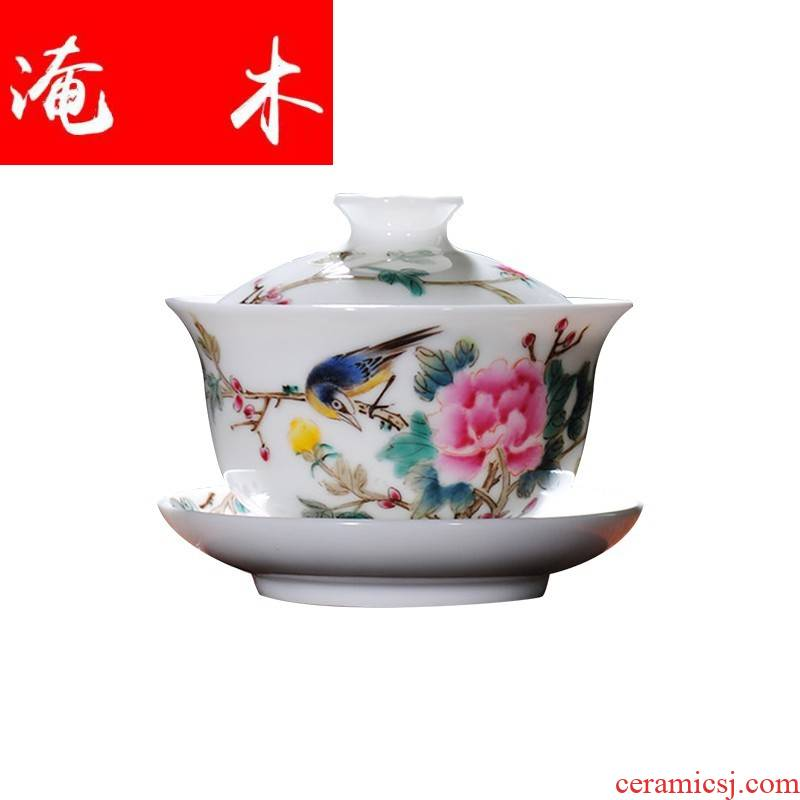 Flooded hand - made wooden jingdezhen ceramics tureen kung fu tea tea bowl powder enamel cups pure manual bowl is three